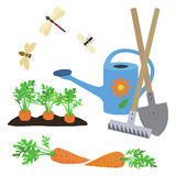 The set of elements on a garden theme.Vector illustration Royalty Free Stock Images