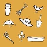 Set of elements on gardening theme Stock Photo