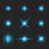 Set of elements glowing blue light burst rays,, stars bursts with sparkles isolated on transparent background vector illustration