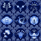 Set of elements in gzhel style as a dark blue ceramic tile. It can be used as a seamless pattern. Stock Image