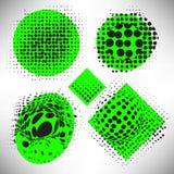 Set of elements of halftone dotted background dotwork royalty free illustration