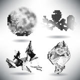 Set of elements of halftone dotted background dotwork Stock Photography