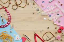 Set of elements for handicraft and decorative items for handmade on wooden background. Flat lay Stock Photography