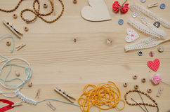 Set of elements for handicraft and decorative items for handmade on wooden background. Flat lay Stock Images
