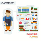 Set of elements for horticulture with gardener Stock Photo