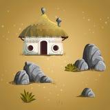 Set elements house, stones, shrub, grass Stock Photo