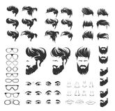 Set elements of human face with beard hirestyle stock illustration