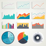 Set of elements for infographics, charts, graphs, diagrams. In color illustrations Stock Photos