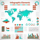 Set elements of infographics red-blue Stock Images