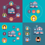 Set elements of infographics smart home. Business concept flat icons set of smart home, security systems and control infographic design elements  illustration Stock Photos