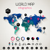 Set elements of infographics. Watercolor world map with shadow. Vector Illustration Royalty Free Stock Photo