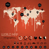 Set elements of infographics. World map drawn with paint. Drips. Vector Illustration Royalty Free Stock Image