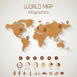 Set elements of infographics. World map made up from cardboard with shadow. Vector Illustration Stock Images