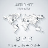 Set elements of infographics. World map made up from crumpled paper with shadow. Vector Illustration Stock Photo