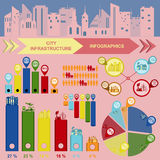 Set of elements infrastructure city, vector infographics Royalty Free Stock Photos