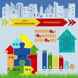 Set of elements infrastructure city, vector infographics Stock Images