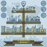 Set of elements infrastructure city, vector infographics Royalty Free Stock Images