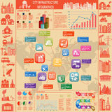 Set of elements infrastructure city, vector infographics. Illustration Royalty Free Stock Photo