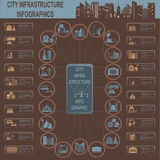 Set of elements infrastructure city, vector infographics. Illustration Royalty Free Stock Image