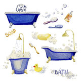 Set of elements of an interior bathroom. Watercolor illustration. Elements of an interior bathroom in white backgroung royalty free illustration