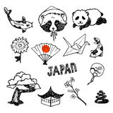 The set of elements of Japanese culture. Hand drawn  icons collection Stock Photos