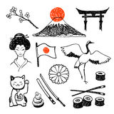 The set of elements of Japanese culture. Hand drawn  icons collection Royalty Free Stock Image