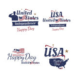 Set of elements for July 4th grunge typography. Independence day of the United States. Vintage sign and flag for greeting c. Ards and banners. EPS10 vector illustration