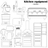 Set of 14 elements of the kitchen equipment for design. Black-an stock photos