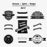 Set 2 elements, labels and badges in a retro style Stock Images