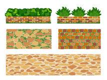 Set of elements for landscape designing. Different options of masonry and garden plants.  Vector illustration. Horizontal  location. Landscaping design Royalty Free Stock Images