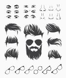 Vector set of elements of male human face Royalty Free Stock Photos