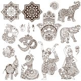 Set of elements in the mehendi style. Elephant, dancers, ganesh, hamsa, ohm in the mehendi style. Set of ornate elements for design Stock Photography