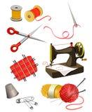 Set of elements for needlework. Vector illustration Royalty Free Stock Image