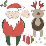 Set of elements for the New Year or Christmas decor. Santa Claus. And his Deer Rudolph  helper, bows for decoration, letter to Santa.  Use for printing, web Stock Photos