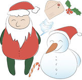 Set of elements for the New Year or Christmas decor. Santa Claus. And his snowman helper, bows for decoration, letter to Santa. Use for printing, web design Stock Photos