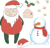 Set of elements for the New Year or Christmas decor. Santa Claus. And his snowman helper, bows for decoration, letter to Santa. Use for printing, web design Royalty Free Stock Photography