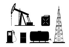 Set of elements of the oil-extracting industry. On the image technological elements of oil production are presented Stock Photography