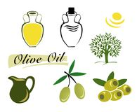 Set of elements of olive oil. Branch with green olives. The set of elements of olive oil. Branch with green olives, Bottle of oil, the Olive tree. Vector Royalty Free Stock Photography