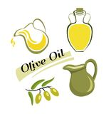 Set of elements of olive oil. Branch with green olives. The set of elements of olive oil. Branch with green olives, Bottle of oil, clay jug with oil. Vector Royalty Free Stock Image