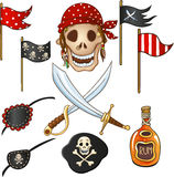 Set of elements for a pirate party Stock Image