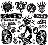 Set of elements of primitive art. Set of elements in the style of primitive art Stock Photography