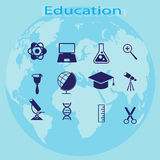 Set of elements the process of education Royalty Free Stock Images