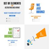 Set of elements for recruiting and hiring. The concept for the design of sites, infographics and other. Vector illustration Royalty Free Stock Photography