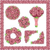 Set of elements of the Roses. For the design stock illustration