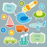 Set of elements for scrapbook for baby boy Stock Image