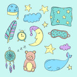 Set of elements about sleeping. Vector illustration Royalty Free Stock Images