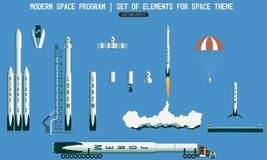 Set of elements for space subject. modern space program. rocket, launch vehicle, satellite, launch pad, payload. Flight Royalty Free Stock Photo