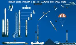 Set of elements for space subject.  Stock Photos