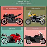 Set of elements sportbikes for creating your own infographics or Stock Image