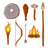 A set of elements of the Stone Age. Cartoon style illustration. Stone wheel, spear, ax, wooden bob, torch, bow, arrow and fire. Pr. Imitive technology and Stock Photos